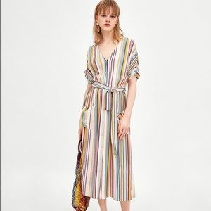Zara striped linen midi dress